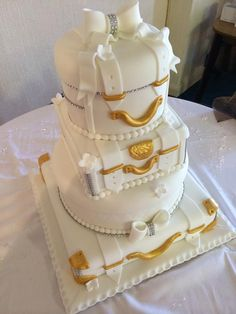 Suitcase wedding cake by Corr's Cakes