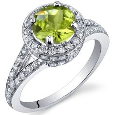 Majestic Sensation 1.25 Carats Peridot Ring in Sterling Silver Rhodium Finish Size 5 to 9 Peora