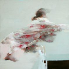 Alex Kanefsky (Russian, b. 1963), oil on mylar mounted on wood {figurative #expressionist art female moving woman smudged texture painting} Reach !! somepaintings.net