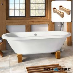 Large Roll Top Bath With Light Oak Feet | Victoria - BathEmpire