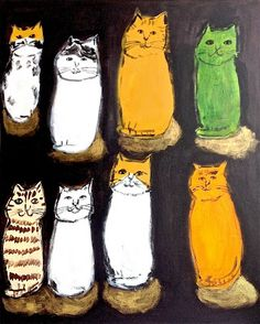 Eight cats Crazy Cat Lady, Crazy Cats, Cute Cat Illustration, Cat Party, Japanese Artists, Cat Drawing, Love Art, Pet Birds, Cats And Kittens