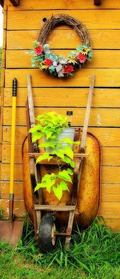 Wheel barrow as shelf for plant bucket with solar light