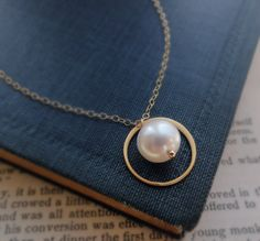 Bridesmaid gifts Pearl necklace gold karma by BriguysGirls on Etsy, $28.75