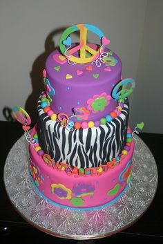 Kenzie LOVES this zebra peace sign cake - her faves - #purplepeacesignzebracake