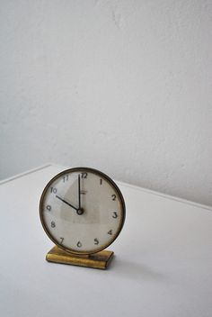 Simple vintage clock with brass and white face in white room. Decorative Accessories, Home Accessories, Bedside Clock, Desk Clock, Nightstand, Old Clocks, Vintage Clocks, Decoration, Home Goods