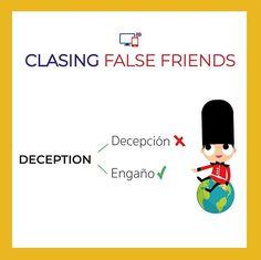 False Friends by CLASINGELTS.com English Vocabulary, English Grammar, False Friends, English Tips, Learning English, Idioms, Languages, Spanish, Words