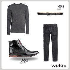 Grafitowy t-shirt z długim rękawem świetnie komponuje się z czarnymi, woskowanymi spodniami. W stylizacji nie może zabraknąć wysokich trzewików Wojas (4285-51) http://wojas.pl/produkt/16589 oraz klasycznego paska Wojas (4964-51) http://wojas.pl/produkt/14404 .