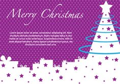 Merry Christmas graphics with purple background, Christmas tree and purple stars. Great Merry Christmas graphics card design free for download in Adobe Illustrator