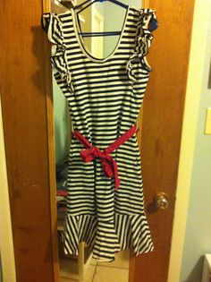Sailorette striped flutter sleeve dress, medium (but stretchy), from Modcloth, limited. The red thread details on this dress add the final touch to the cute retro feel of this midi!