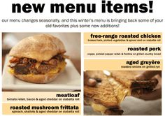 have you tried our new winter menu? we've brought back some favorites, and added a couple of new sandwiches!