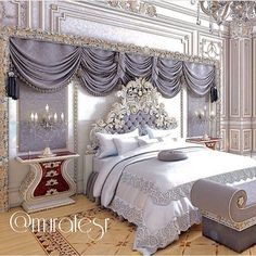 I like the treatment over the bed but the rest is a bit too ornate for me.