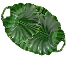 Serving Oval Bowl in Green Majolica English 19th Century