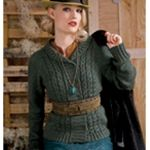FORESTRY  Vogue Knitting Fall 2008 #11 By Veronik Avery  Coin-cabled front panels are framed with ribbed bands and a shawl collar in Avery's raglan-shaped cardigan.