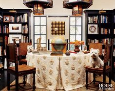 Orientalism rules in the dining room of designer Peter Dunham's Los Angeles home.