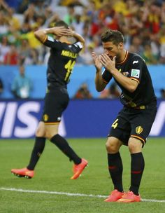 Belgium's Dries Mertens reacts after missing his goal shot during the 2014 World Cup Group H soccer match between Belgium and South Korea at...