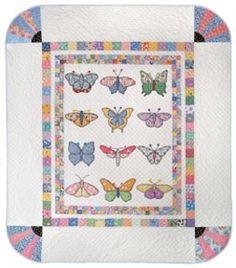 """antique beauties"", Butterfly quilt"