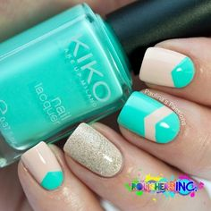 Tiffany Blue and Cream Nails With Gold Shimmer