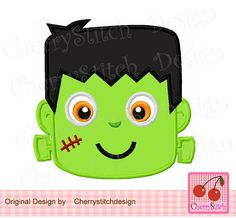 Frankenstein ,Halloween cute Frankenstein applique,Halloween scary HL0059-approximate 4x4 5x5 6x6 inch- Machine Embroidery Applique Design by CherryStitchDesign on Etsy