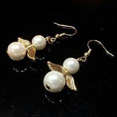 Handmade White Glass Pearl and Gold Plated Pewter Angel Wings Dangle Earrings #CascadeJewelry