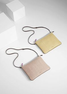 Women's cream and yellow woven leather 'Loe' bags