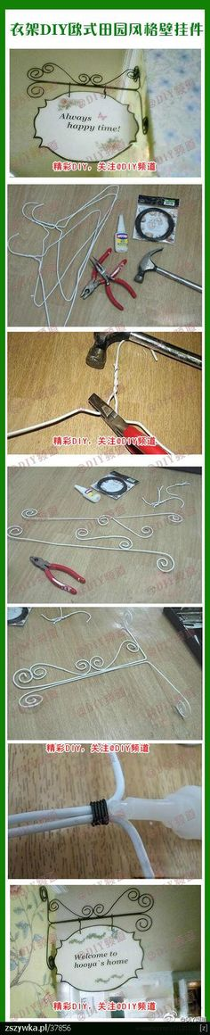 Wire sign or picture hanger from wire hangers - looks easy  (JS)