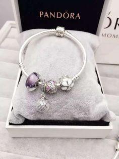 50% OFF!!! $139 Pandora Charm Bracelet Purple White. Hot Sale!!! SKU: CB01593 - PANDORA Bracelet Ideas