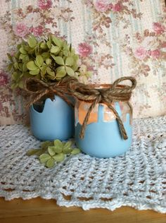 Baby shower centerpieces, baby shower decoration , jar with twine Girl/boy set of 5. $10.00, via Etsy.