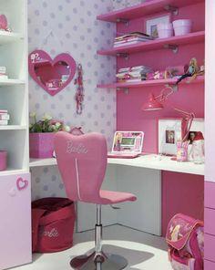 Quartos de estudos da Barbie decorado Kids Bedroom Furniture, Room Ideas Bedroom, Bedroom Themes, Baby Room Decor, Girls Bedroom, Bedroom Decor, Desk For Girls Room, Barbie Bedroom, Old Room