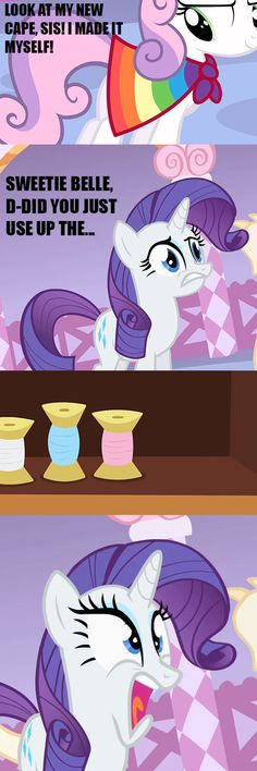 More like Sweetie Hell-Breaks-Loose My Little Pony Comic, My Lil Pony, My Little Pony Pictures, Mlp Memes, Funny Memes, Sweetie Belle, Little Poni, Mlp Comics, Mlp Pony