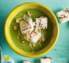 If you're looking for a starter to impress, look no further: moreish marshmallows give this courgette-packed soup the wow factor