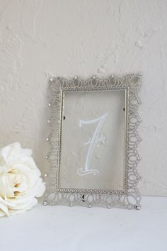 Stunning Silver Frame With Rhinestone Detail Hand Painted As A Table Number Sign Wedding Style