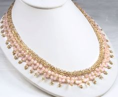 Statement Bridal Necklace,  Rose Water Opal and Vintage Rose Crystal Beadwoven Bridal Necklace - Elizabeth (WN0071)