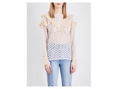 SANDRO Frilled guipure lace top