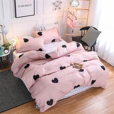 KELUO Home Textile King Size Fink Lover Bedding Sets Duvet Cover Sets Pillowcases Paris Famous Scenery Flat sheet Cool Girl Bedrooms, Girls Bedroom, Master Bedroom, Duvet Bedding Sets, Comforters, White Bedding, Cute Bedroom Ideas, Small Bedroom Designs, Dream Rooms