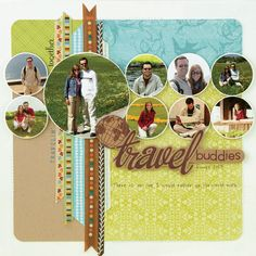 """Tips and techniques for applying rub-ons and using them on a scrapbook page.    """"Travel Buddies"""" scrapbook layout by Jennifer McGuire for Creating Keepsakes magazine    #scrapbook #scrapbooking #creatingkeepsakes"""