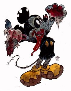 Mickey Mouse [as a zombie] (Drawing by ZombiePortraits) Zombie Cartoon, Zombie Movies, Zombie Art, Dead Zombie, Disney Horror, Zombie Disney, Horror Art, Scary, Creepy