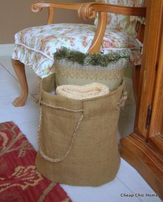Burlap Basket Tutorial - Now this is a good thing to do with old burlap rug hooking patterns!  From another pinner, this is the only thing to do with burlap patterns!