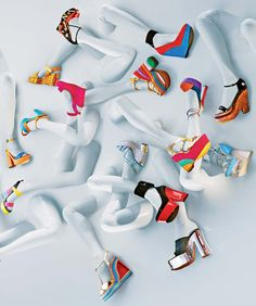 """High Kicks"" for Interview magazine. Photo by Sebastian Mader. Cool idea for a window display design concept for a shoe store. Design Set, Display Design, Store Design, Display Ideas, Visual Merchandising Displays, Visual Display, Top 10 Shoes, Vitrine Design, Fashion Displays"
