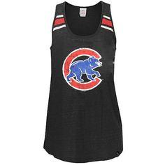 Chicago Cubs Charcoal 'Alternate Logo' Tri-Blend Tank Top Relaxed Scoop Neck Rac   SportsWorldChicago.com