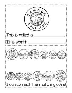 Canadian Coins: Student Activity Booklet pages once assembled} Numbers Kindergarten, Math Numbers, Preschool Kindergarten, Money Activities, Math Resources, Money Games, Teaching Money, Teaching Math, Maths