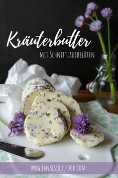 Herb butter with chive flowers summer recipes summer recipes abendessen rezepte recipes recipes dessert recipes dinner Grilling Recipes, Gourmet Recipes, Snack Recipes, Dessert Recipes, Snacks, Gourmet Foods, Chive Blossom, Eggplant Dishes, Decor Inspiration