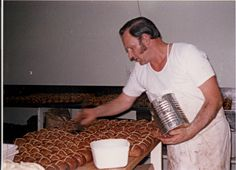 My father, Ray Adamson, making hot cross buns in the 1970's. CHECK OUT THE SIDE BURNS!!! Hot Cross Buns, My Father, Family History, Burns, Cake, Check, Kitchen, Pie Cake, Cooking