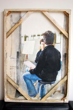 Selfportrait seen from behind canvas  by Andres Cuervo