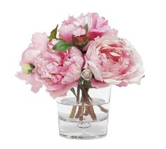 Bring on the botanicals. The Faux Mixed Peonies come set within a clear glass vase, enlivening any space with their stunning pink hues. Hand assembled of plastic, polyester with a wire center; For indoor use only.