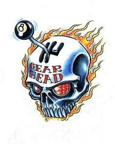 Tattoo Temple - Unique. Living. Art Gear Head Skull flames shifter eight ball Tattoo Flash Art ~A.R.