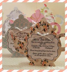 tea party invitations. This inspired me   for an idea that you could totally do this and tie a bit-o-tea in a bag behind   the invite to help it stand!!!-ri-