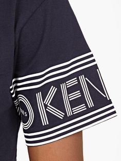 Kenzo,Navy Cotton Logo-Sleeve T-Shirt,NAVY,3