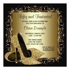 Black Gold High Heels Womans Birthday Party Card 70th Parties 50th Themes