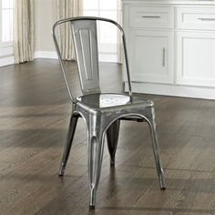 Crosley Furniture Amelia Metal Cafe Chair in Galvanized Set of 2 Dining Chair
