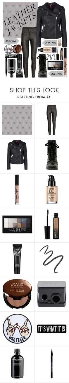 """""""leather jackets"""" by icy-frappe ❤ liked on Polyvore featuring H&M, Hot Topic, NYX, Maybelline, Benefit, MAKE UP FOR EVER, MAC Cosmetics, Grown Alchemist, Urban Decay and Stila"""